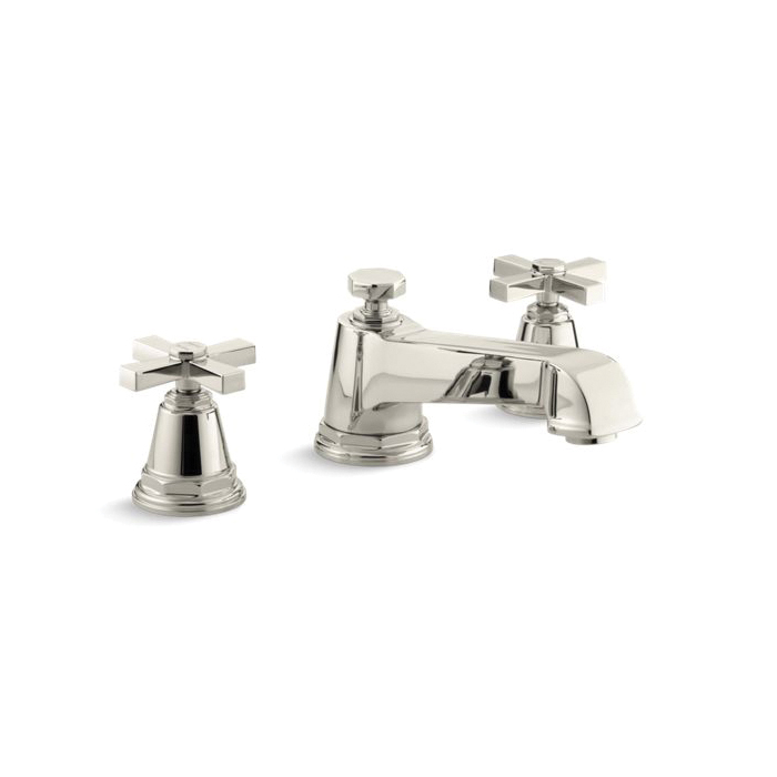 Kohler® T13140-3A-SN Pinstripe® Bath Tub Faucet Trim, 16 gpm Flow Rate, 8 in Center, Vibrant® Polished Nickel, 2 Handles, Function: Traditional