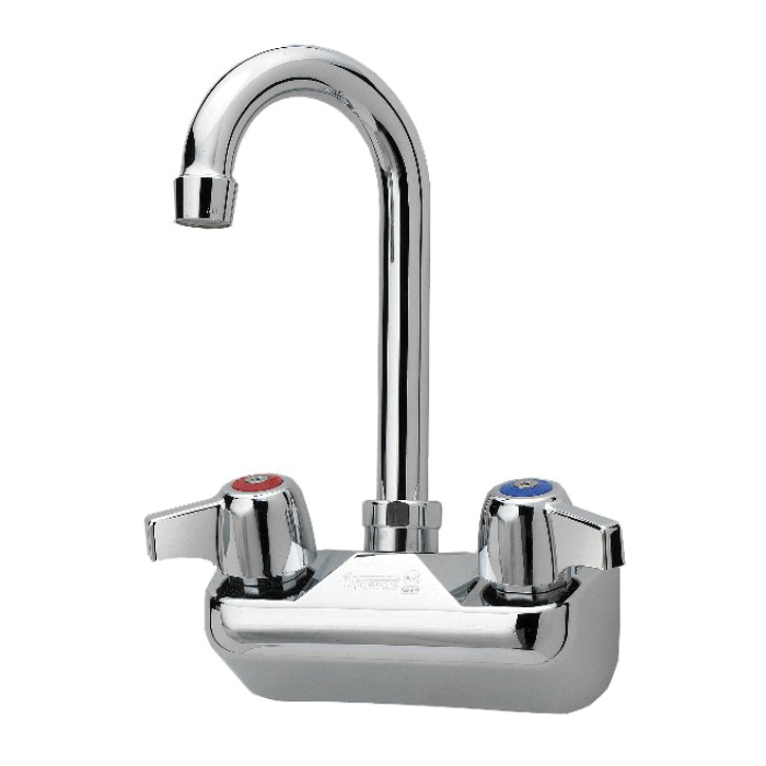 Krowne® 10-400L Silver Wall Mount Faucet, 2 gpm, 4 in Center, Gooseneck Spout, Side Spray(Y/N): No, Import