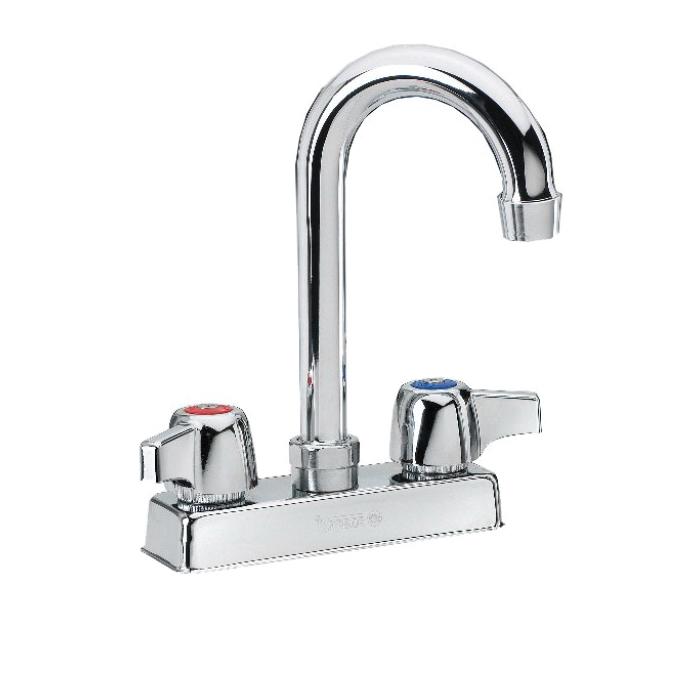 Krowne® 11-400L Silver Wall Mount Faucet, 2 gpm, 4 in Center, Gooseneck Spout, Side Spray(Y/N): No