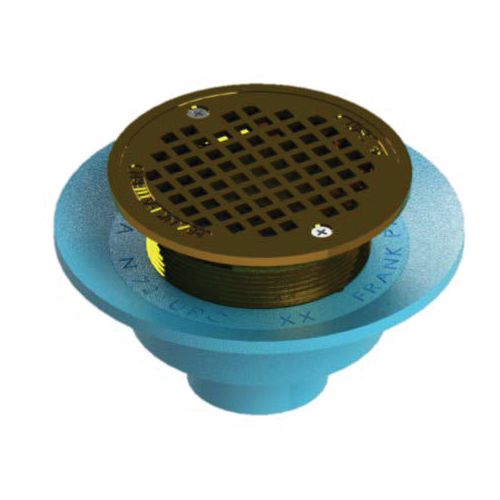 Tech Specialties™ Frank Pattern™ N72W5375R Adjustable Floor Drain, 2 in Outlet, No Hub Connection, 5-1/16 in Brass Grid, Cast Iron Drain
