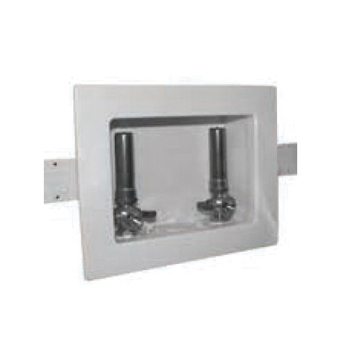 Specialty Products™ Switch Hitter® OB-207 Assembled Washing Machine Outlet Box With Hammer Arrester and MNPT Valves, Plastic, White