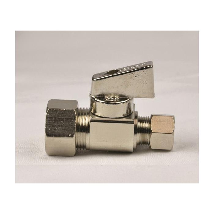 Aquaflo® V-102-A-LL Quarter-Turn Ball Valve, 1/2 x 3/8 in, FNPT x OD Compression, Brass Body, NBR/EPDM Softgoods