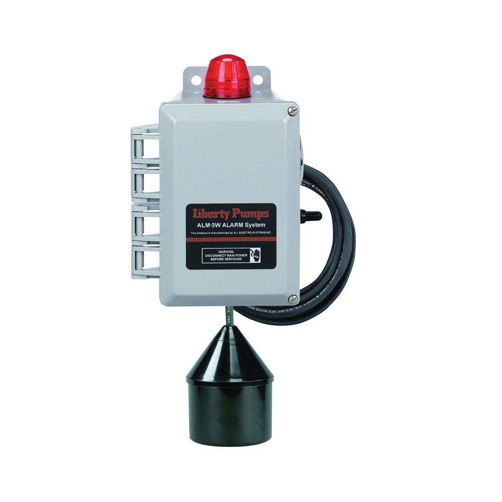Liberty Pumps® ALM-3W High Liquid Level Alarm, 88 dB Sound, Test/On/Silence, 115 VAC, Domestic