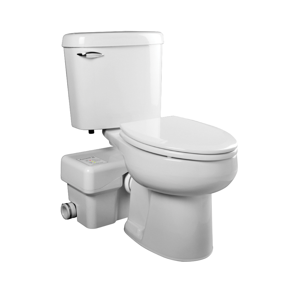 Liberty Pumps® ASCENTII-ESW Macerating Toilet, Elongated Bowl, 17-3/8 in H Rim, 1.28 gal Flush Rate, White, Import
