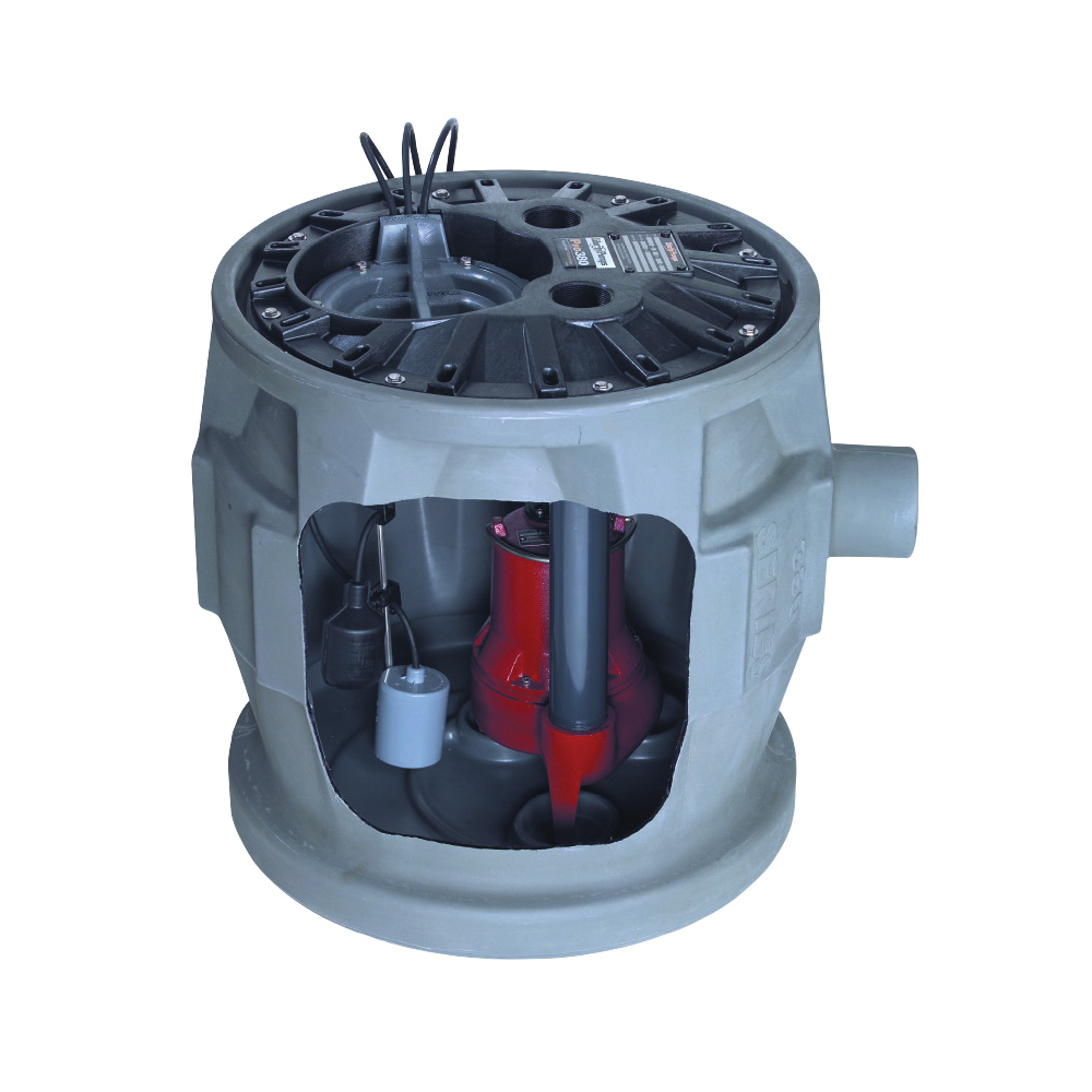 Liberty Pumps® QuickTree® P382LE41 Pro380 Simplex Sewage System, 4/10 hp, 115 VAC, 2 in Outlet, Polyethylene, 12 A, 1 ph