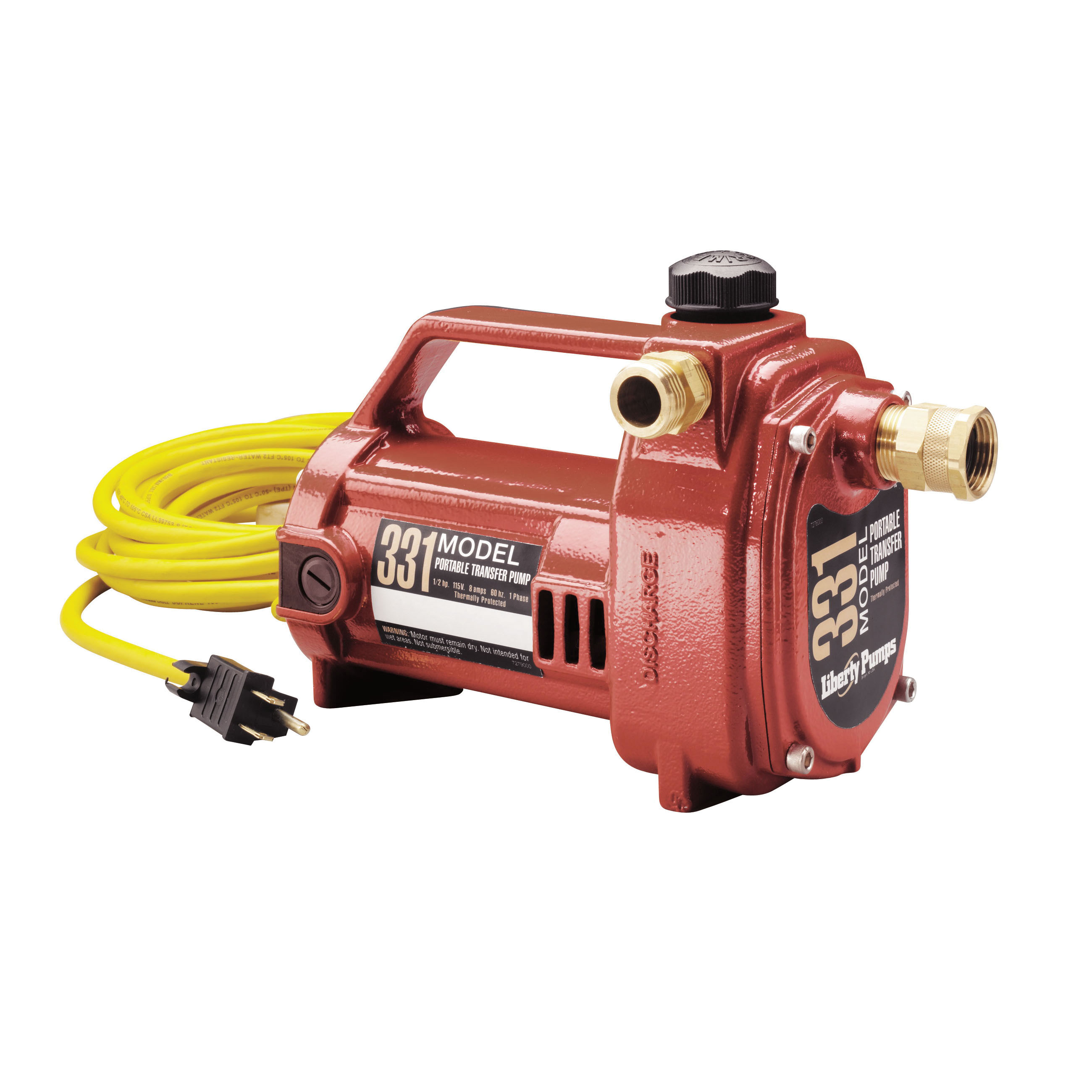 Liberty Pumps® 331 Portable Heavy Duty Transfer Pump, 1/2 hp, Cast Aluminum, Domestic