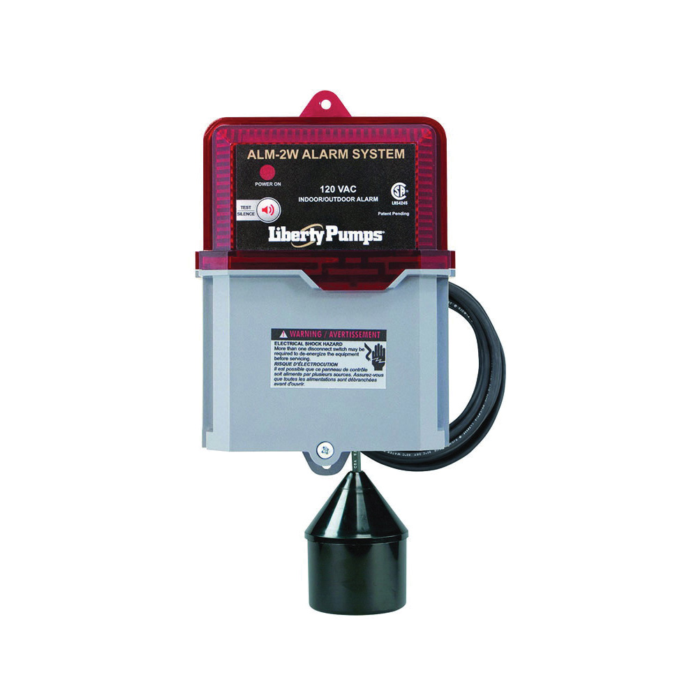 Liberty Pumps® ALM-2W High Liquid Level Alarm, 82 dB Sound, Test/Silence, 115 VAC, Domestic