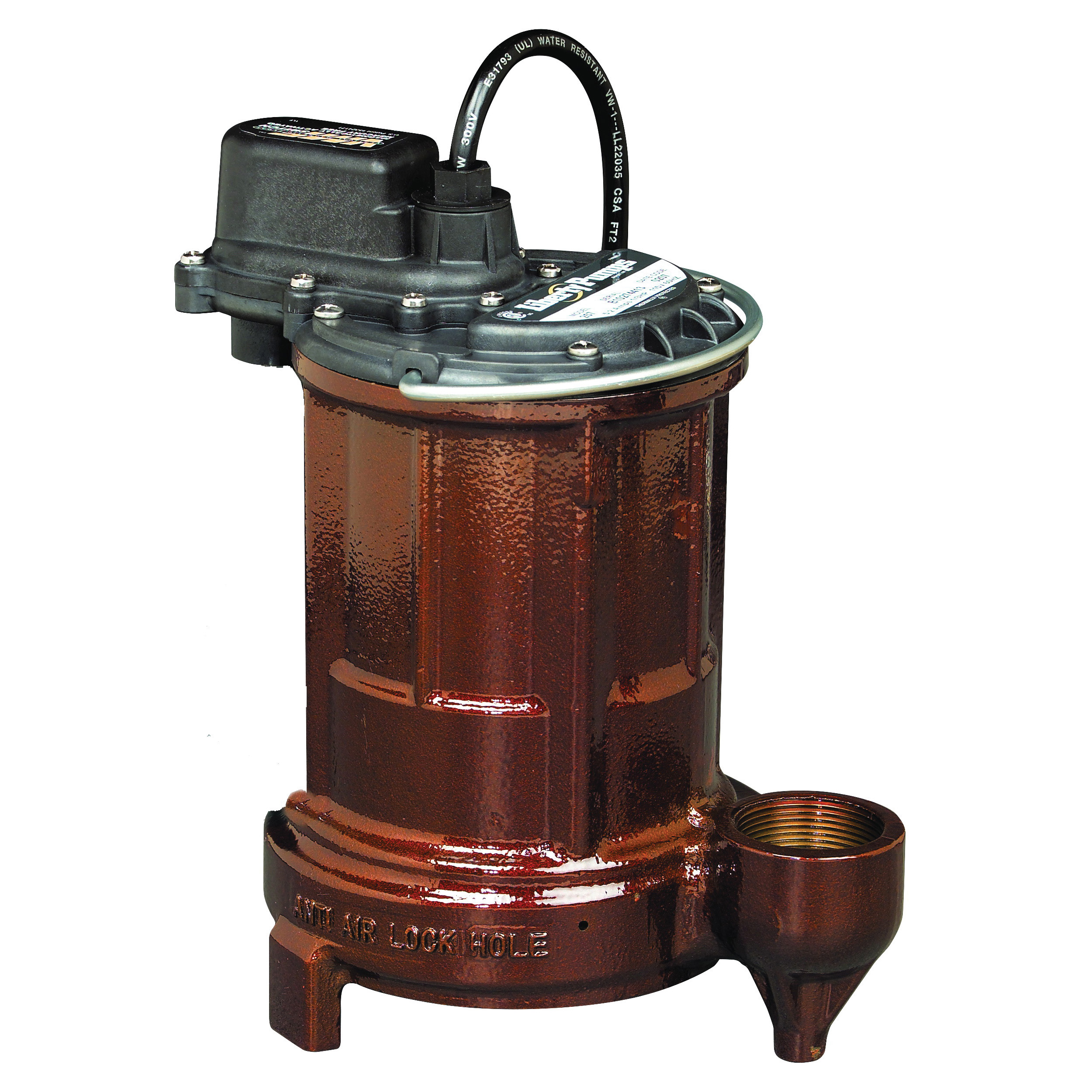 Liberty Pumps® 250 1-Phase Low-Head Submersible Effluent Pump, 44 gpm Max Flow, 5 ft Rated Head, Automatic/Non Automatic: Non-Automatic, 23 ft Max Head, 115 VAC