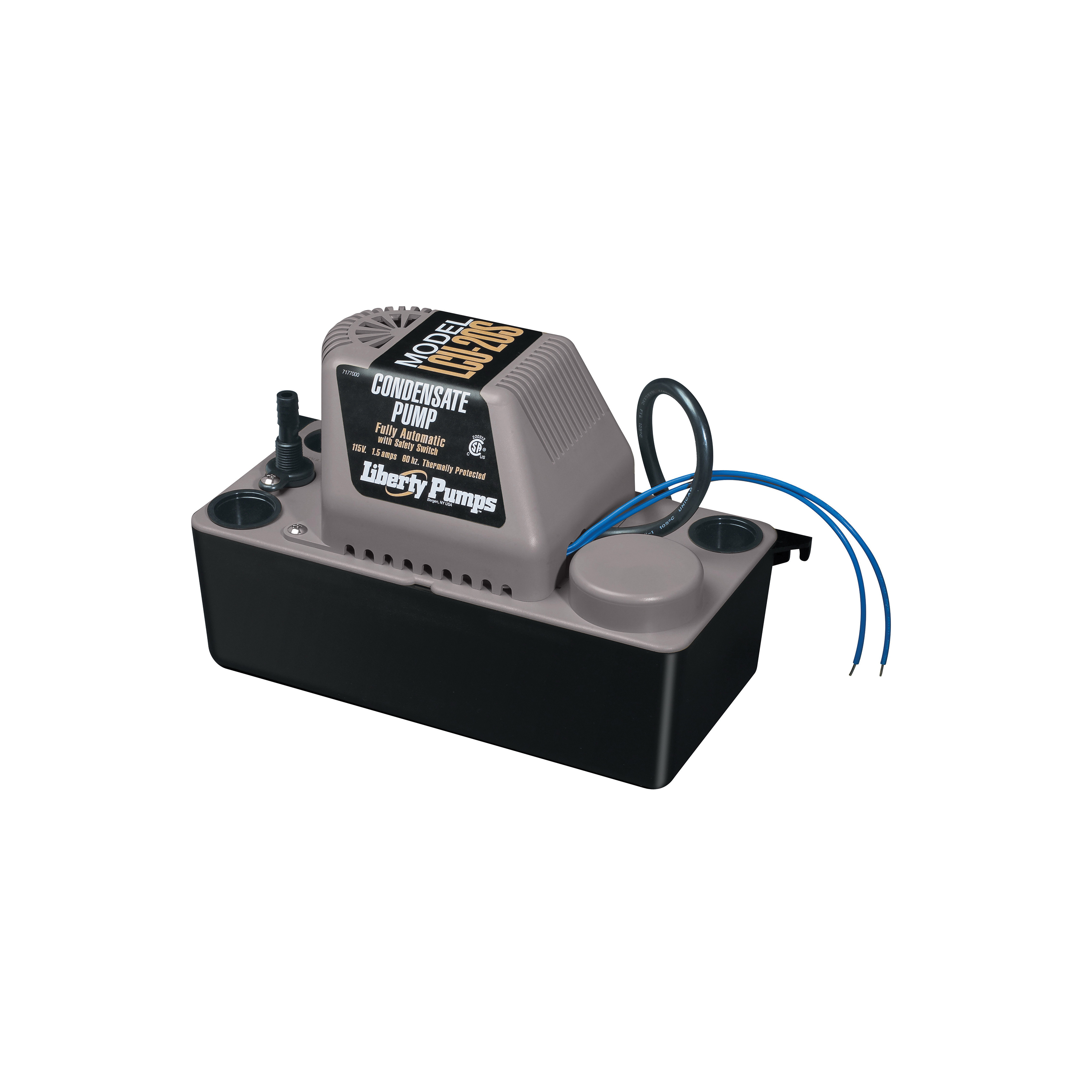 Liberty Pumps® LCU-20ST Condensate pump With Safety Switch, 110 gph Flow Rate, 3/8 in OD Outlet, 20 ft Shutoff Head, 1/30 hp Power Rating