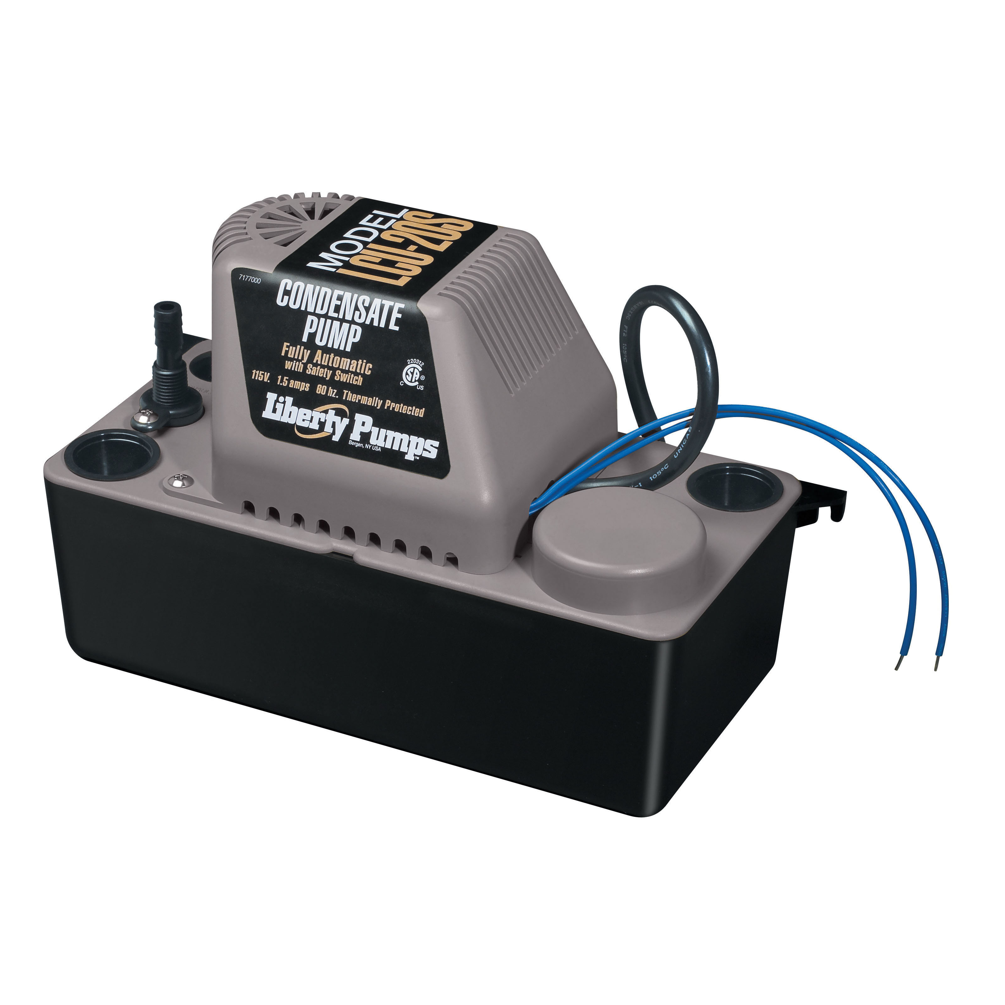 Liberty Pumps® LCU-20S Condensate Pump With Safety Switch, 110 gpm Flow Rate, 3/8 in OD Outlet, 20 ft Shutoff Head, 1/30 hp Power Rating