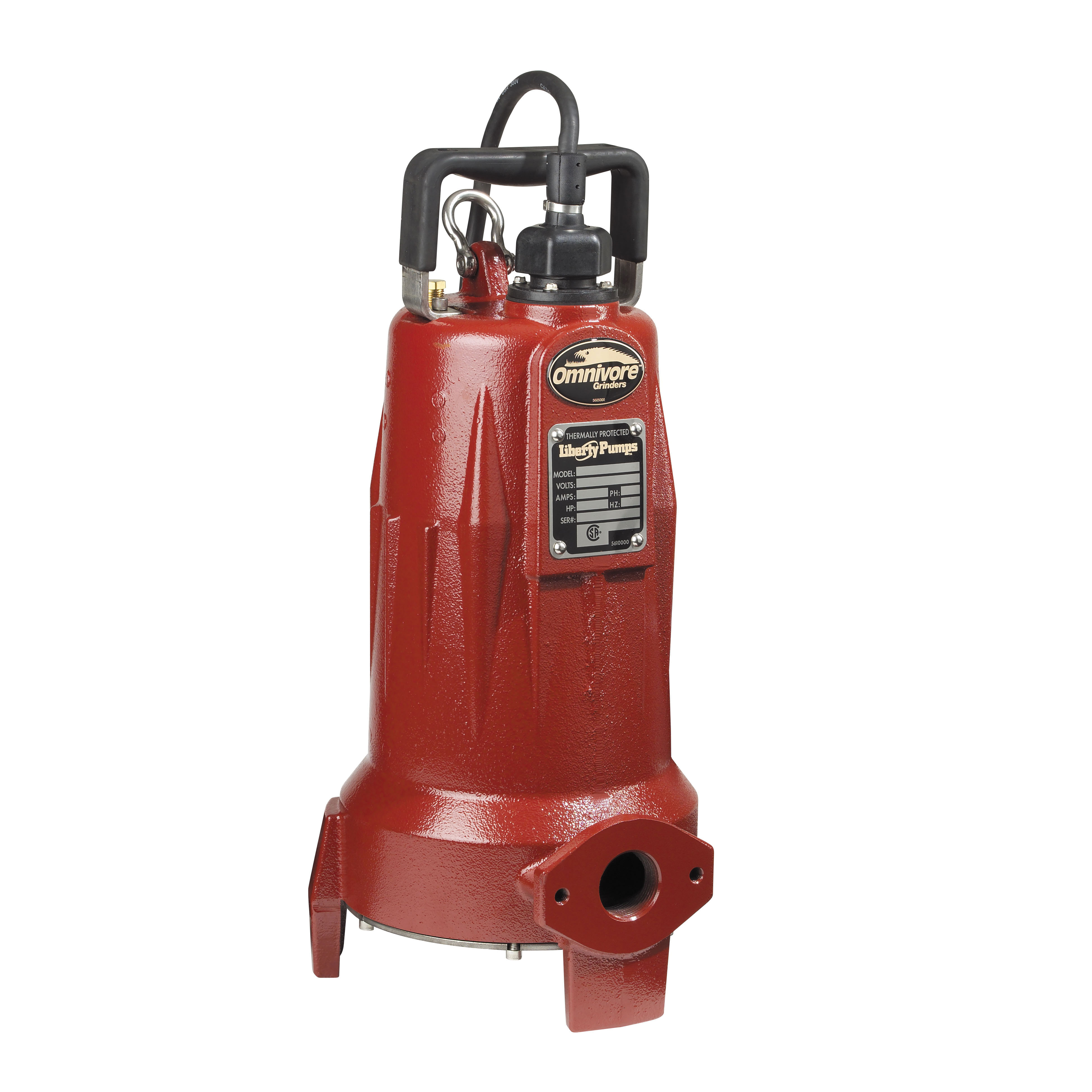 Liberty Pumps® Omnivore® LSG202M 1-Stage Submersible Grinder Pump, 50 gpm Max Flow, 10 ft Rated Head, Non-Automatic, 110 ft Max Head, 208 to 230 VAC, 1 ph