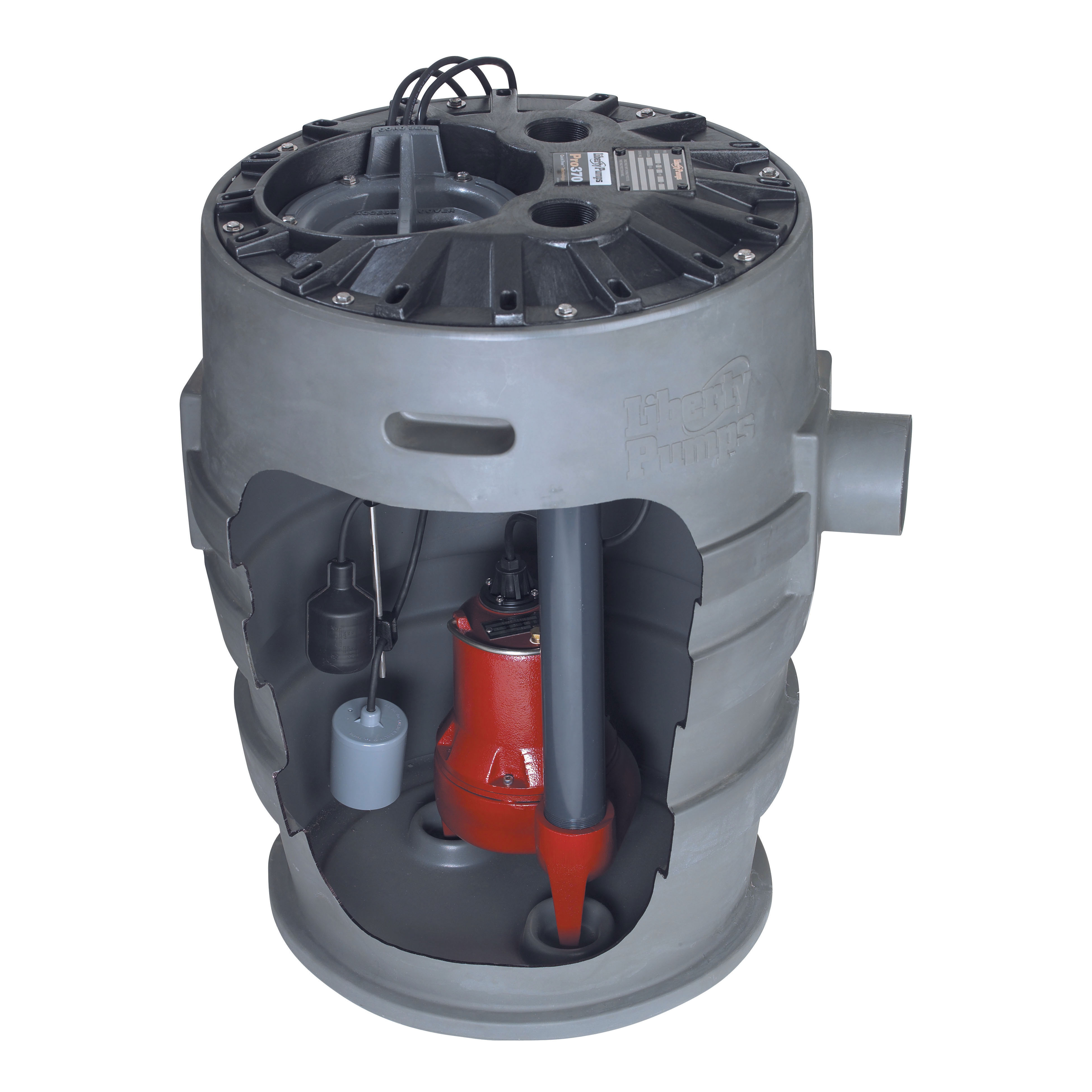 Liberty Pumps® P372LE51 Pro370 Submersible Simplex Sewage System, 2 in Discharge Pipe, 2 in Solid Handling, 1/2 hp, 115 VAC, 1 ph, Polyethylene, 1725 rpm Motor