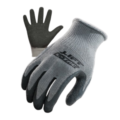L-Tac GPL-10Y1L Workman® General Purpose Gloves, Work, XL, Crinkle Grip Latex Palm, Cotton, Gray, Continuous Knit Wrist Cuff, Resists: Abrasion, Blade Cut, Tear and Puncture, Polyester Lining