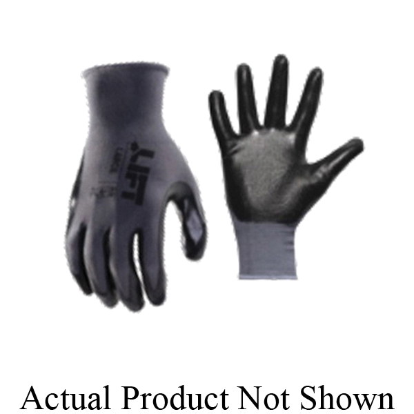 LIFT GPR-6K1L Workman® General Purpose Gloves, Work, XL, Nitrile Palm, Palmer Nitrile, Black, Slip On/Off Cuff, Resists: Abrasion, Blade Cut, Tear and Puncture, Cotton/Polyester Lining