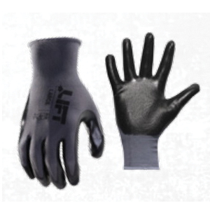 LIFT GPR-6KL Workman® General Purpose Gloves, Work, L, Nitrile Palm, Palmer Nitrile, Black, Elastic Knit Wrist Cuff, Resists: Abrasion, Blade Cut, Tear and Puncture, Cotton/Polyester Lining
