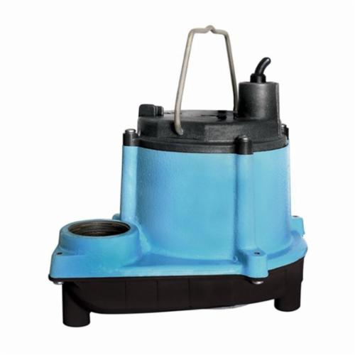 Little Giant® 506158 6 Series Automatic Submersible Sump Pump, 12.5 gpm Flow Rate, 1-1/2 in Outlet, 1 ph, 1/3 hp, Cast Iron, Domestic
