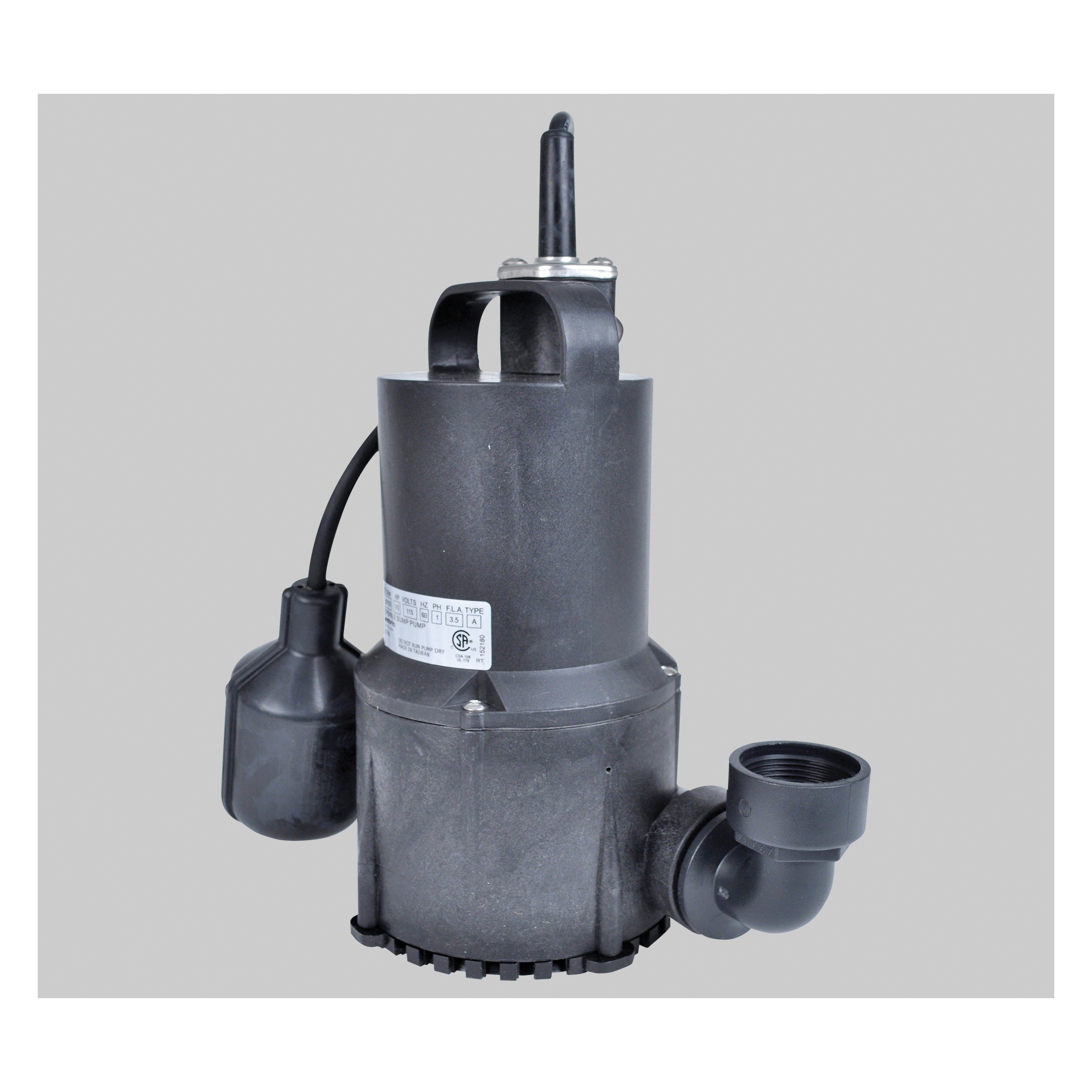 Little Giant® 620135 SP33 Submersible Sump Pump, 25 gpm Flow Rate, 1-1/4 in FNPT Outlet, 1 ph, 1/3 hp, Import