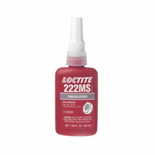 Loctite® 135333 222MS™ 1-Part Low Strength Threadlocker, 10 mL Bottle, Liquid Form, Purple, 1.05