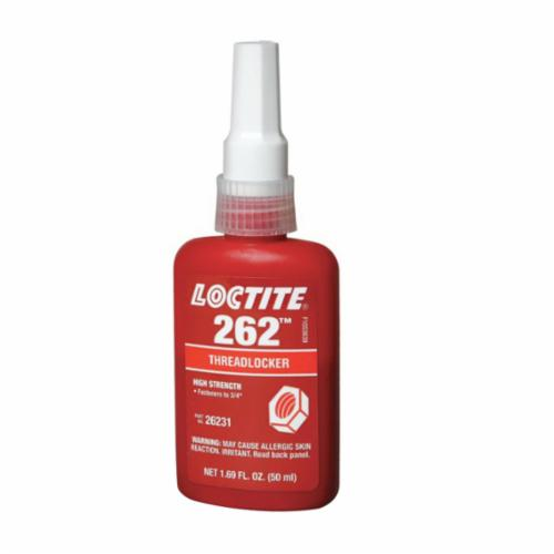 Loctite® 1330583 263™ High Strength Low Viscosity Oil Tolerant Primerless Threadlocker, 10 mL Bottle, Liquid Form, Red, 1.08