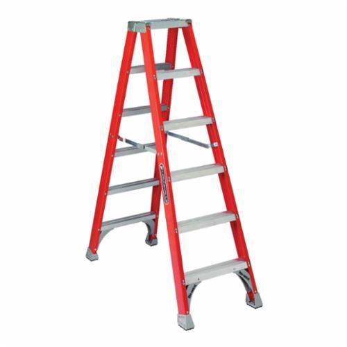 Louisville® FM1505 FM1500 Type IA Twin Step Ladder, 5 ft H Ladder, 300 lb Load, 4 Steps, Fiberglass