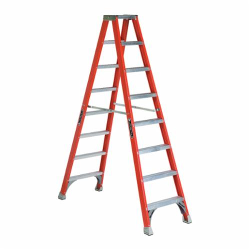 Louisville® FM1506 FM1500 Type IA Ribbed Twin Front Ladder, 6 ft H Ladder, 300 lb Load, 5 Steps, Fiberglass, A14.5