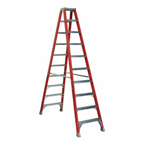 Louisville® FM1508 FM1500 Type IA Ribbed Twin Front Ladder, 8 ft H Ladder, 300 lb Load, 7 Steps, Fiberglass, A14.5