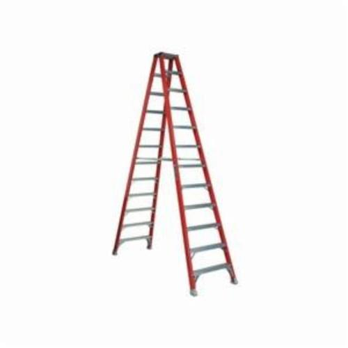 Louisville® FM1510 FM1500 Type IA Ribbed Twin Front Ladder, 10 ft H Ladder, 300 lb Load, 9 Steps, Fiberglass, A14.5