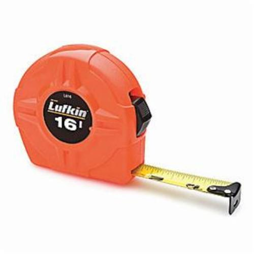 Lufkin® Hi-Viz® L610CME L600 Lightweight Tape Measure, 10 ft L x 1/2 in W Blade, Steel Blade, Imperial/Metric Measuring System