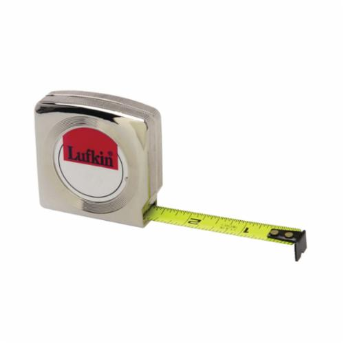 Lufkin® W6110 Pee Wee® Pocket Tape Measure, 10 ft L x 1/4 in W Blade, Steel Blade, Imperial Measuring System, 1/16ths, 1/32nds Graduation