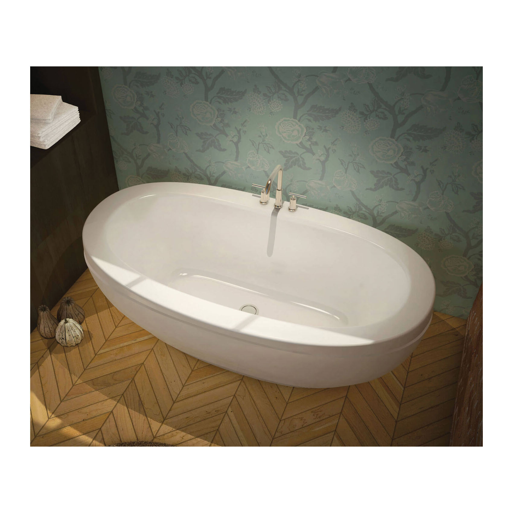 MAAX® 105516-000-001 Serenade® F 2-Piece Bathtub, Chromatherapy, 66-1/2 in L x 36-1/2 in W, Center Drain, White