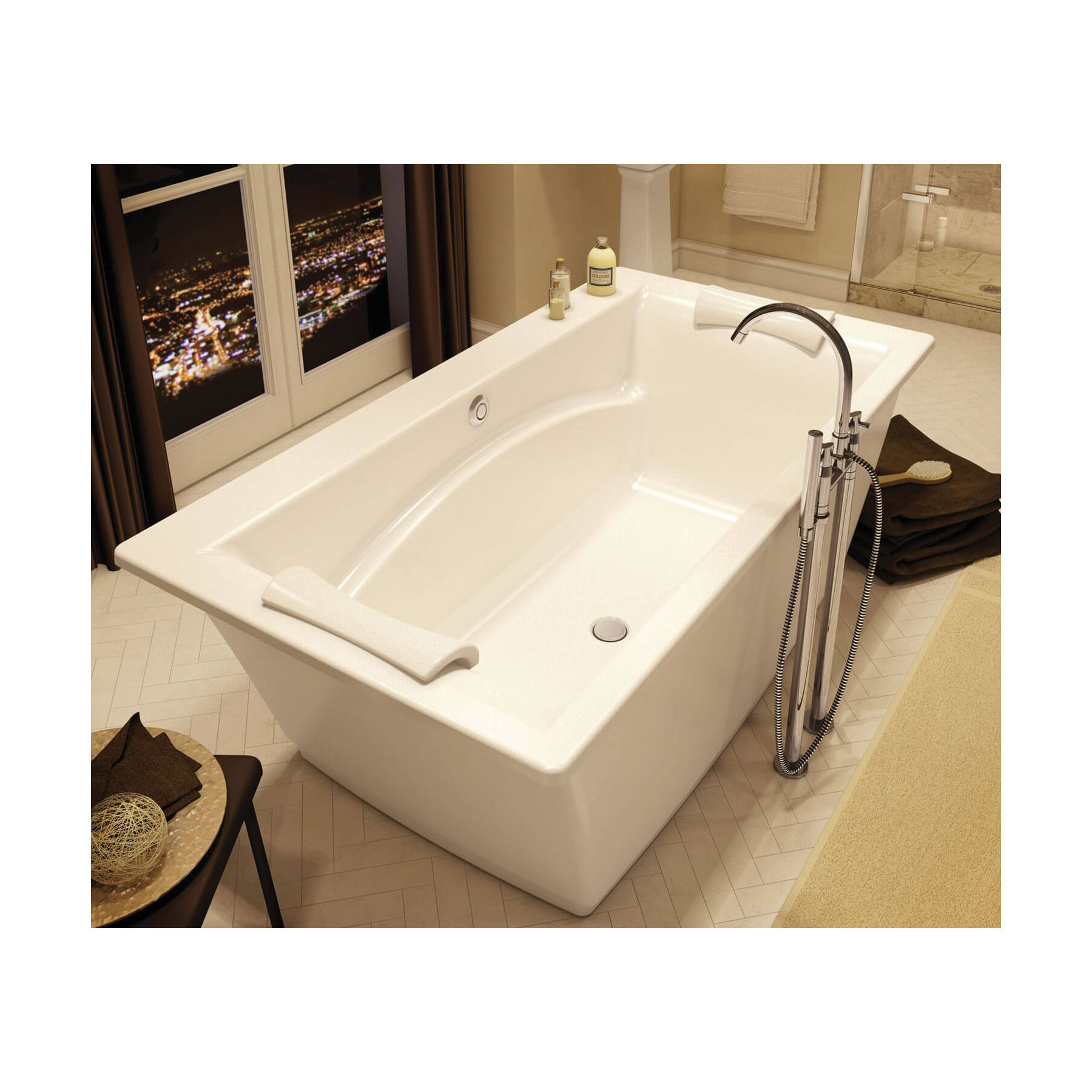 MAAX® 105742-000-001 Optik® 6636 F 2-Piece Bathtub Without Jet, Chromatherapy, 66 in L x 36 in W, Center Drain, White