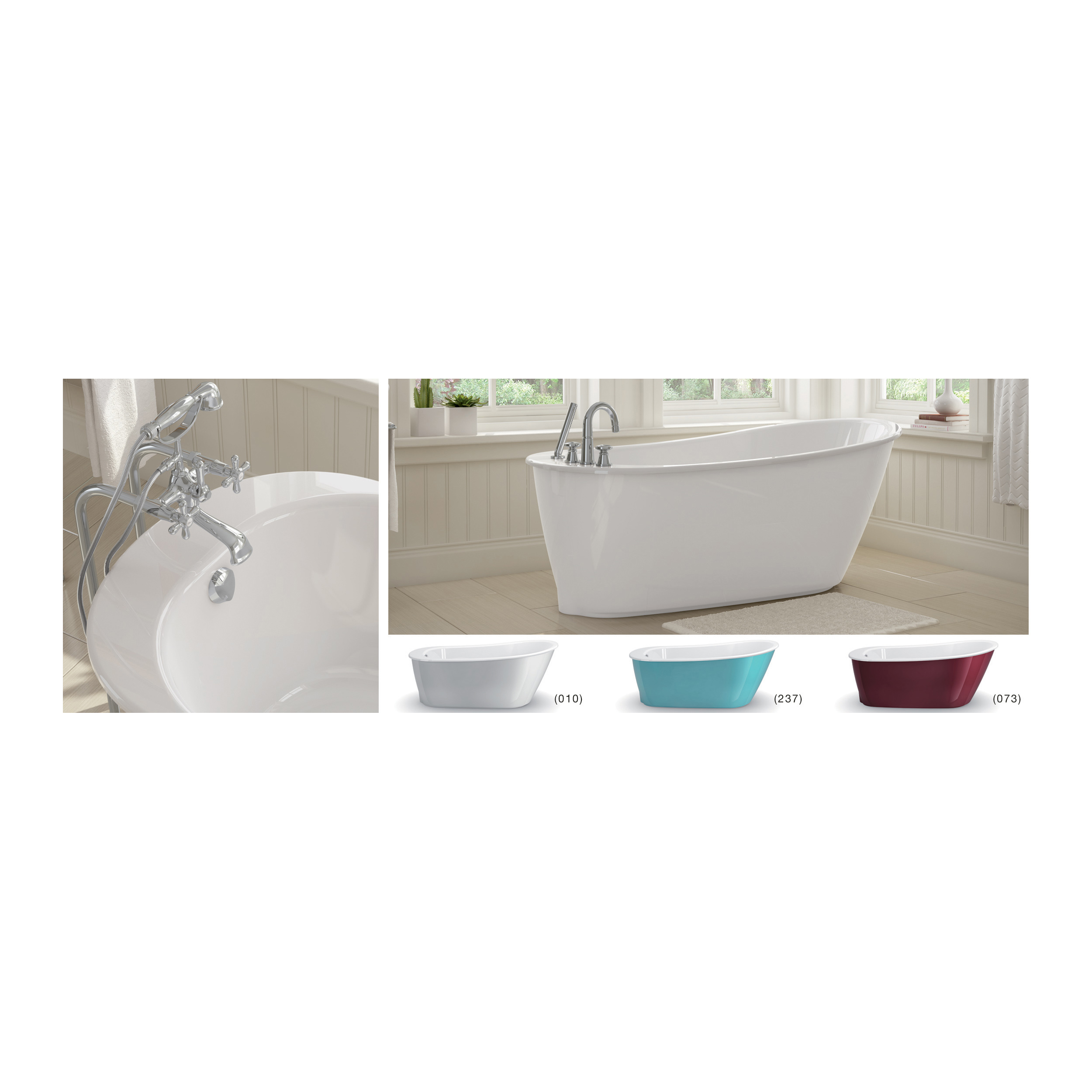 MAAX® 105797-000-002 Sax 2-Piece Bathtub, Oval, 60-1/8 in L x 32 in W, End Drain, White