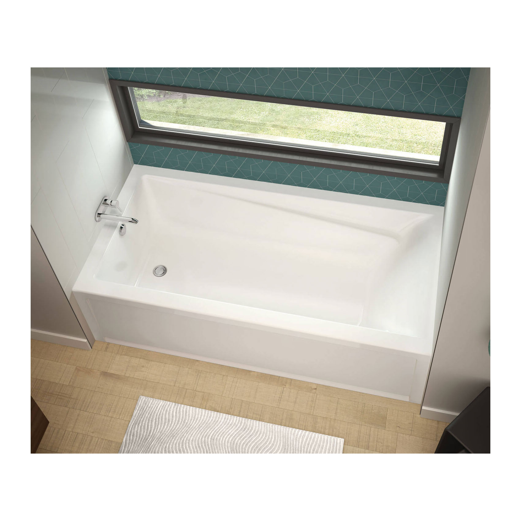 MAAX® 106184-L-000-001 Exhibit 7236 IFS AFR Bathtub With Armrest, Bath Therapy Type: Soaking, Rectangular, 71-7/8 in L x 36 in W, Left Drain, White