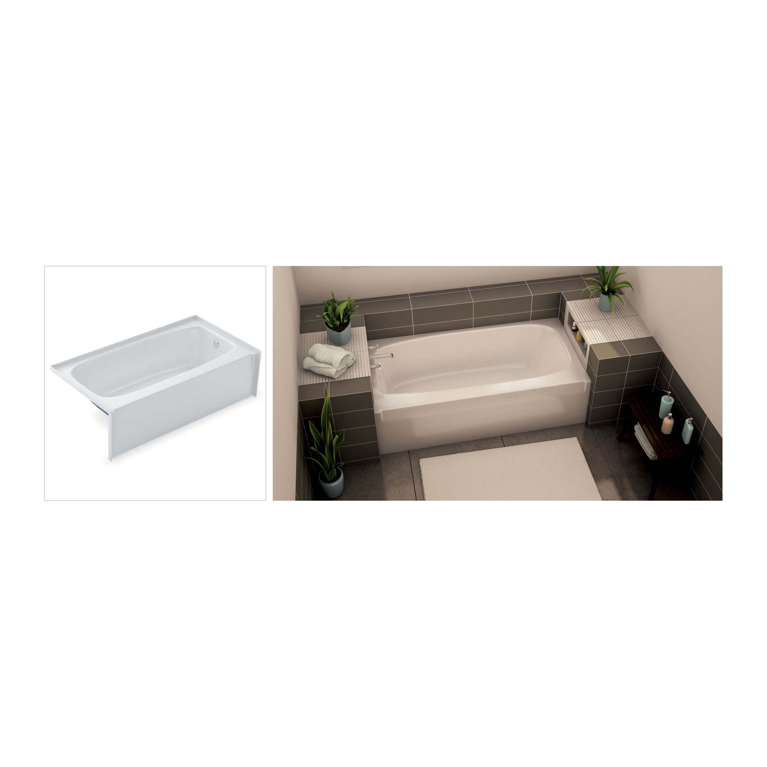 Aker® by MAAX 141078-R-000-002 TO-3060 Bathtub, Rectangular, 60 in L x 31 in W, Right Drain, White, Domestic