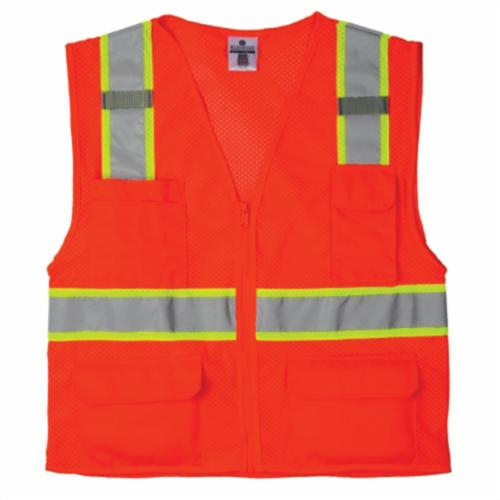 ML Kishigo 1516-XL Premium Black Series® 1516 Black Bottom Safety Vest, XL, Hi-Viz Orange, Ultra-Cool™ Polyester Mesh, Zipper Front Closure, 6 Pockets, ANSI Class: Class 2, ANSI/ISEA 107 Type R