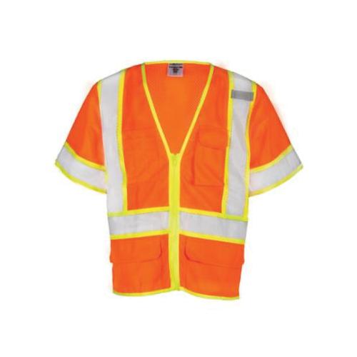 ML Kishigo 1242-XL Contrast Safety Vest, XL, Hi-Viz Lime, Polyester Mesh, Zipper Front Closure, 6 Pockets, ANSI Class: Class 3, ANSI 107 Type R