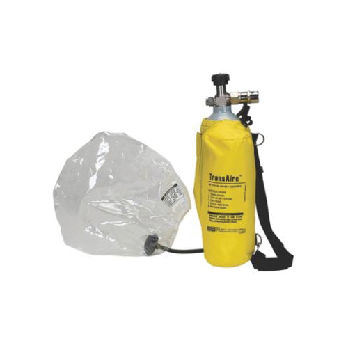 MSA 10008292 TransAire® 5 Series Emergency Escape Respirator, Aluminum Cylinder/Polyurethane Facepiece, Yellow, For Gase Type H2S (IDLH), Vapors or Oxygen and Toxic Gasses