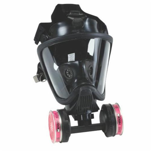 MSA 10016756 Ultra Elite® Twin Port Full Facepiece Respirator With Twin-Cartridge Adapter, M, 5-Point Suspension, Threaded Connection