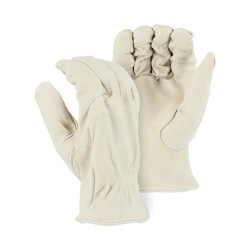 Majestic Glove 1510P/X1 General Purpose Gloves, Drivers, XL/SZ 11, Grain Pigskin Leather Palm, Grain Pigskin Leather, Cream, Shirred Cuff, Unlined Lining, Keystone Thumb