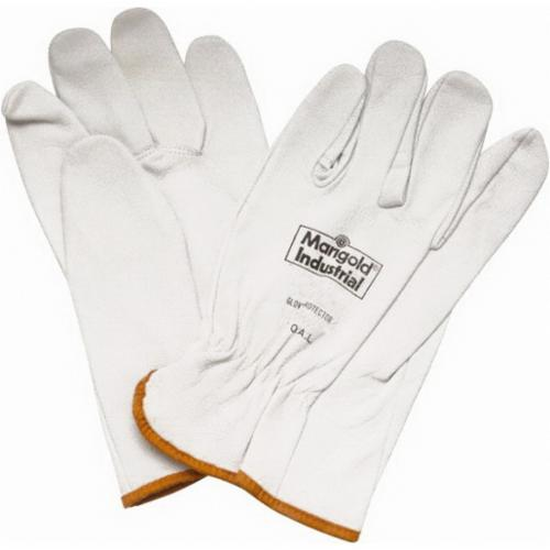 Marigold® G12Y-9.5 Medium Weight Chemical-Resistant Gloves, SZ 9.5, Natural Rubber Latex, Yellow, Flock Lining, 12 in L, Resists: Abrasion, Unsupported Support, Beaded Cuff, 17 mil THK