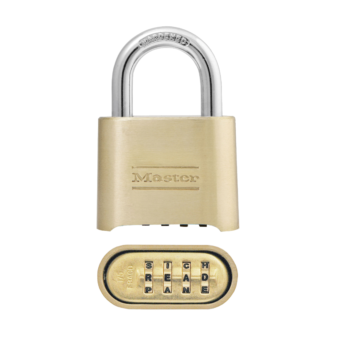Master Lock® 140KAD Safety Padlock, Alike Key, 1/4 in Shackle, Solid Brass Body, 4-Pin Tumbler Locking