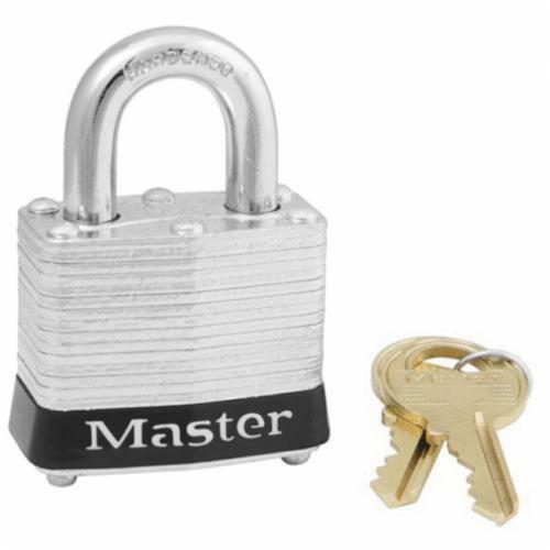 Master Lock® 2 Non-Rekeyable Safety Padlock, Different Key, Laminated Brass Body, 5/16 in Dia Shackle, 4-Pin Tumbler Locking Mechanism