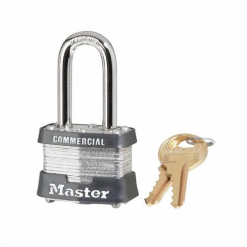Master Lock® 3KA Commercial Grade Non-Rekeyable Safety Padlock, Alike Key, 9/32 in Shackle, Laminated Steel Body, 4-Pin Tumbler Locking