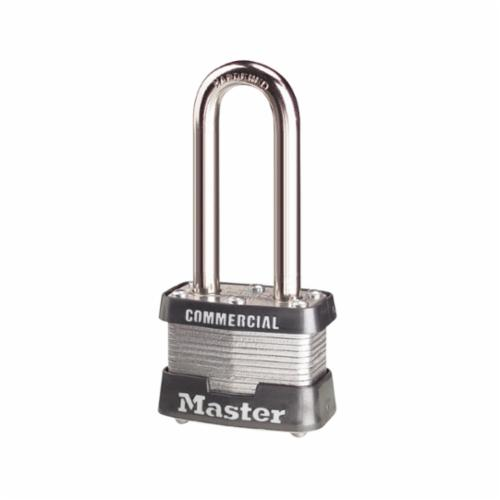 Master Lock® 3KALF Commercial Grade Safety Padlock With 1-1/2 in Shackle, Keyed Alike, Alike Key, 9/32 in Shackle, Laminated Steel Body, Pin Tumbler Locking