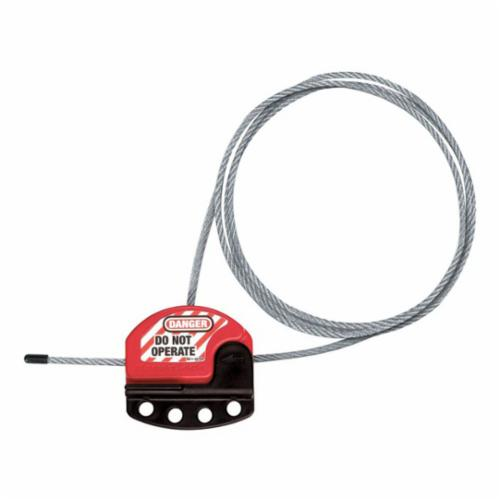 Brady® 51442 Mechanical Risk Retractable Mini Cable Lockout, 0.07 in Dia x 8 ft L Vinyl Coated Nylon Cable, 6 Padlocks, Red, 0.31 in Dia Max Padlock Shackle, LOTO-38 Fiberglass Reinforced Polypropylene Body, Legend: DANGER LOCKED OUT DO NOT REMOVE