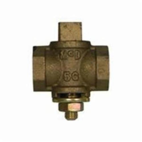 McDonald® 4212-125, 10596 Flat Tee Head Plug Valve With Check, 1 in, FNPT, Bronze Body