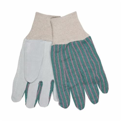 Memphis 1040 Economy Grade General Purpose Gloves, Leather Palm, L, Cowhide Leather Palm, Cowhide Leather, Gray, Knit Wrist Cuff, Uncoated Coating, Resists: Abrasion, Fleece Lining, Clute Pattern/Standard Finger/Straight Thumb
