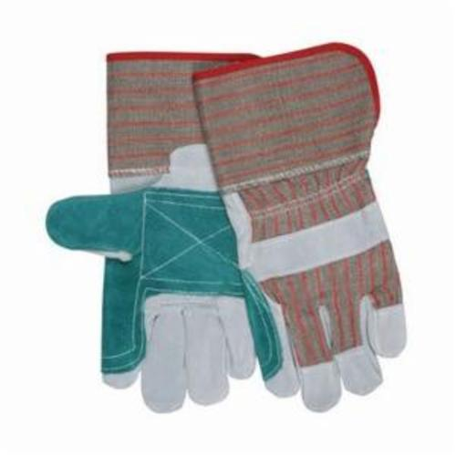 Memphis 12010DP Double Palm Economy Grade General Purpose Gloves, Leather Palm, Gunn Pattern/Standard Finger/Wing Thumb Style, L, Cowhide Leather Palm, Cowhide Leather, Gray, Safety Rubberized Cuff, Uncoated Coating, Fleece Lining