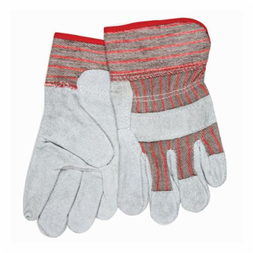 Memphis 1201DP Double Palm Economy Industrial Grade Ladies General Purpose Gloves, Leather Palm, Gunn Pattern/Standard Finger/Wing Thumb Style, S, Cowhide Leather Palm, Cowhide Leather, Gray, Gauntlet/Rubberized Cuff, Uncoated Coating, Fleece Lining