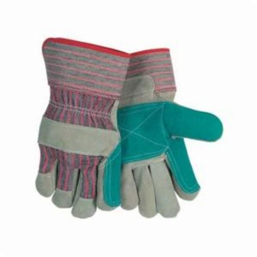 Memphis 1211 Double Palm Industrial Grade General Purpose Gloves, Leather Palm, Gunn Pattern/Standard Finger/Wing Thumb Style, L, Cowhide Leather Palm, Cowhide Leather, Gray, Safety Rubberized Cuff, Uncoated Coating, Resists: Abrasion, Fleece Lining